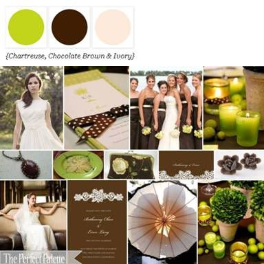Shades of Chartreuse, Chocolate Brown + Ivory