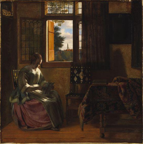 Pieter de hooch 1629 1684 femme lisant une lettre for Fenetre 55x55