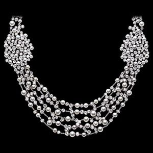Diamond Necklace with pearls of white gold.