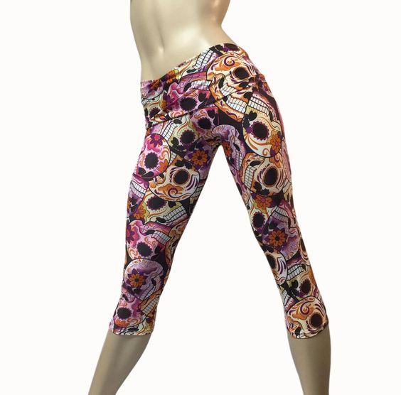 Workout Shorts Skull Sorts Hot Yoga Shorts Swimwear SALE size SM only Made in USA - SXYfitness Sugar Skull