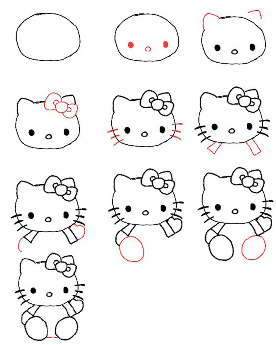 Draw hello kitty chats comment dessiner et dessiner - Comment dessiner hello kitty ...