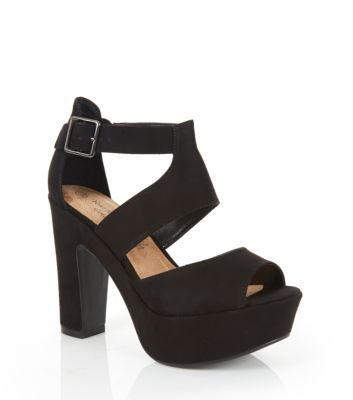 Wide Fit Black Chunky Strappy Heels | Want it..! | Pinterest ...