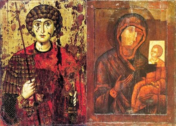 Double-sided icon of St. George and the Virgin Hodegetria (c. 1100)
