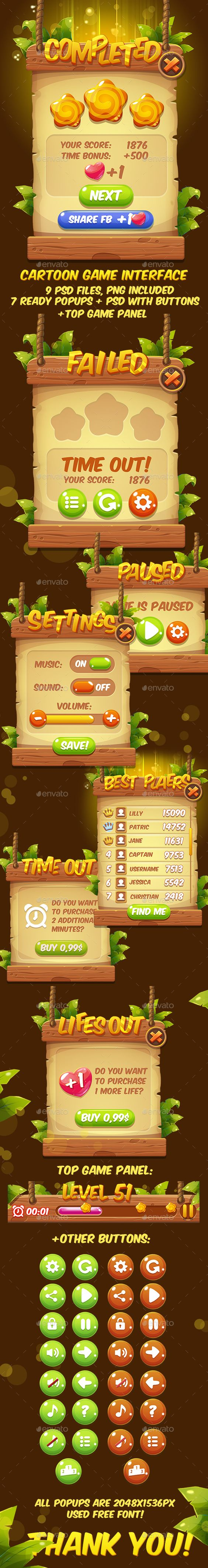 PSD Fantasy Cartoon Game Interface  Template • Only available here ➝ http://graphicriver.net/item/fantasy-cartoon-game-interface/16488013?ref=pxcr