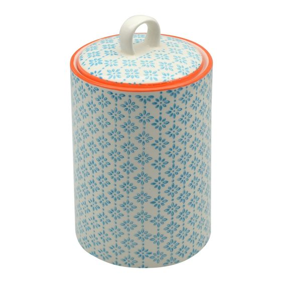 Nicola Spring Porcelain Tea Coffee Canister Blue Orange
