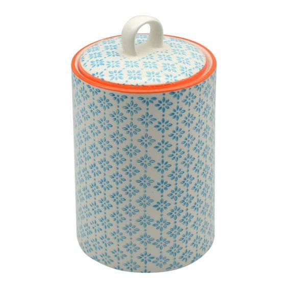 Nicola Spring Porcelain Tea Coffee Canister Blue Orange