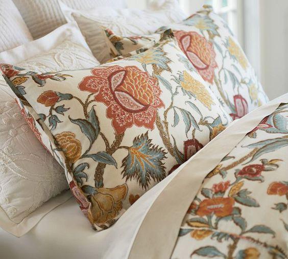 Jacobean Orange Flowers And Duvet Covers On Pinterest