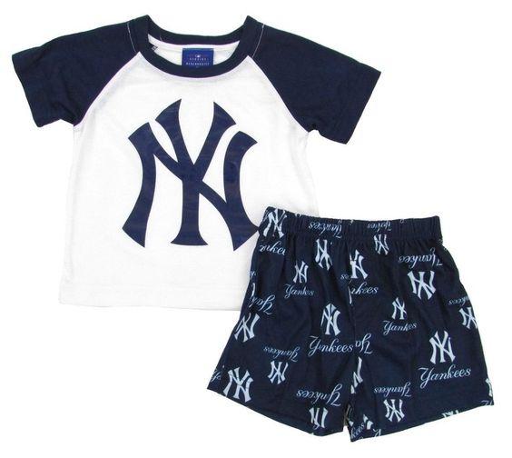Nwt New York #Yankees Kid's Genuine Stuff Pajamas -tshirt And Shorts -12 Months from $19.99