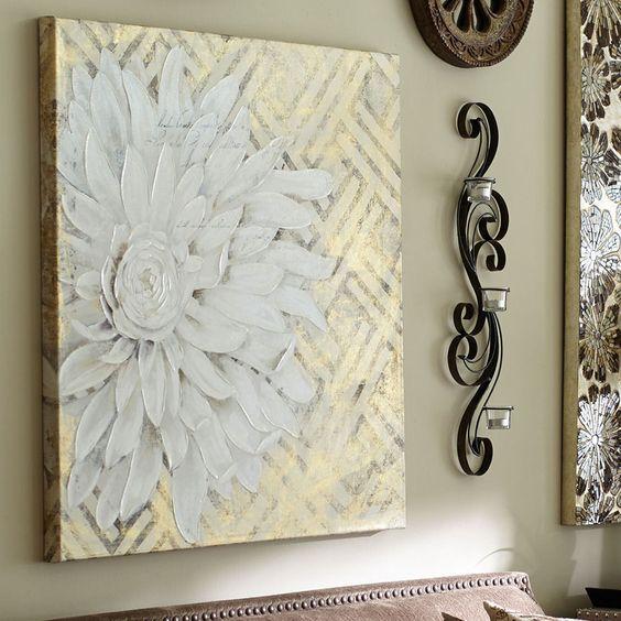 "Floral Lattice Art - White | Pier 1 Imports 36"" by 36"" w  mother's suite  149.95"
