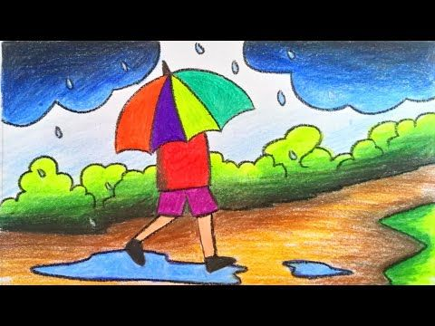 How To Draw Scenery Of Rainy Season Step By Step For Children S With Color Very Easy Drawing Rainy Day Drawing Nature Drawing For Kids Art Drawings For Kids