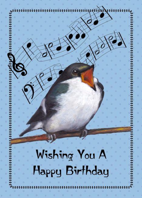 Happy Birthday General Bird Singing Music Notes Original Art Card Ad Affiliate Singing Birthday Cards Happy Birthday Birds Happy Birthday Music Notes