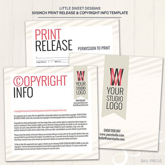 Print Release & Copyright Information Card - Photoshop Template ...