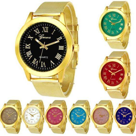 Luxury Womens Watches Geneva Gold Stainless Steel Strap Dress Quartz Wristwatch #pendoshopWholesale #Dress