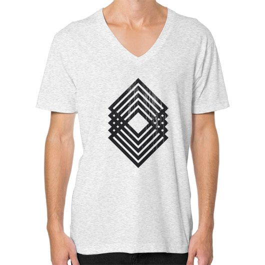 Geometric Grunge V-Neck (on man)