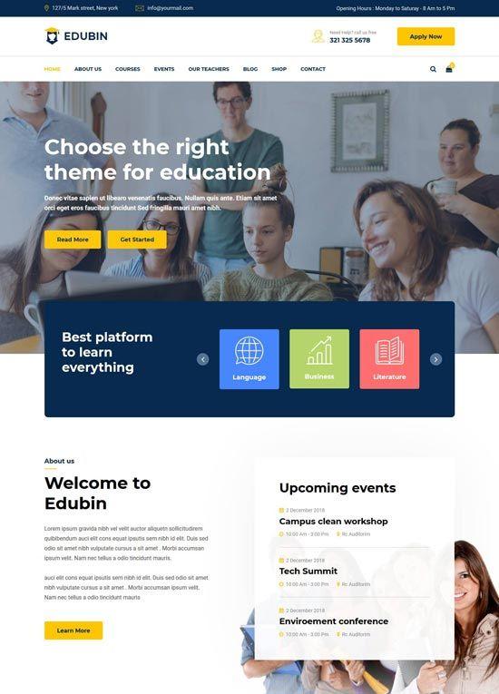 70 Best Education Website Templates Free Premium Freshdesignweb Education Website Templates Website Design Free Free Website Templates