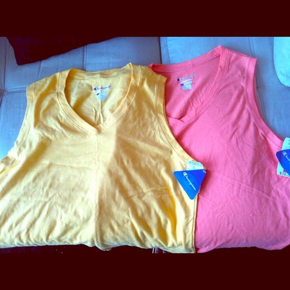 Athletic apparel Workout gear. Sleeveless top, goldenrod color, 100% cotton Tops