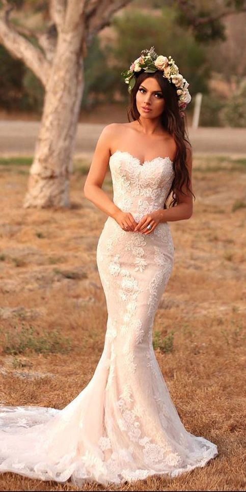 Stunning Mermaid Wedding Dresses Sweetheart Lace Appliques