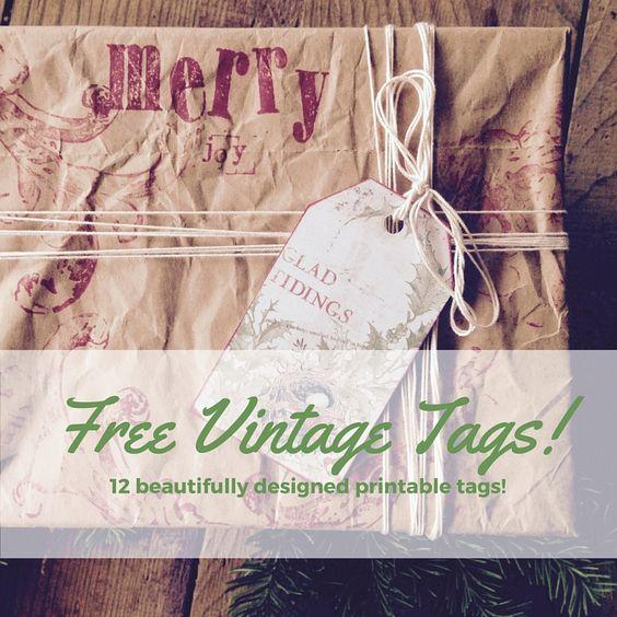 FREE! printable vintage christmas tags #freeholidayprintables, #freechristmasprintables, #vintagechristmas, #DIYchristmas, #christmaspackages