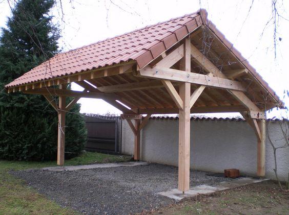 Abris de voiture  vente du0027un carport en bois asymétrique deux - prix d un garage en bois