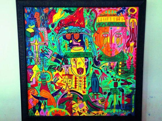 Tela: Africa livre. técnica mista . 70 x 70 cm Á venda.