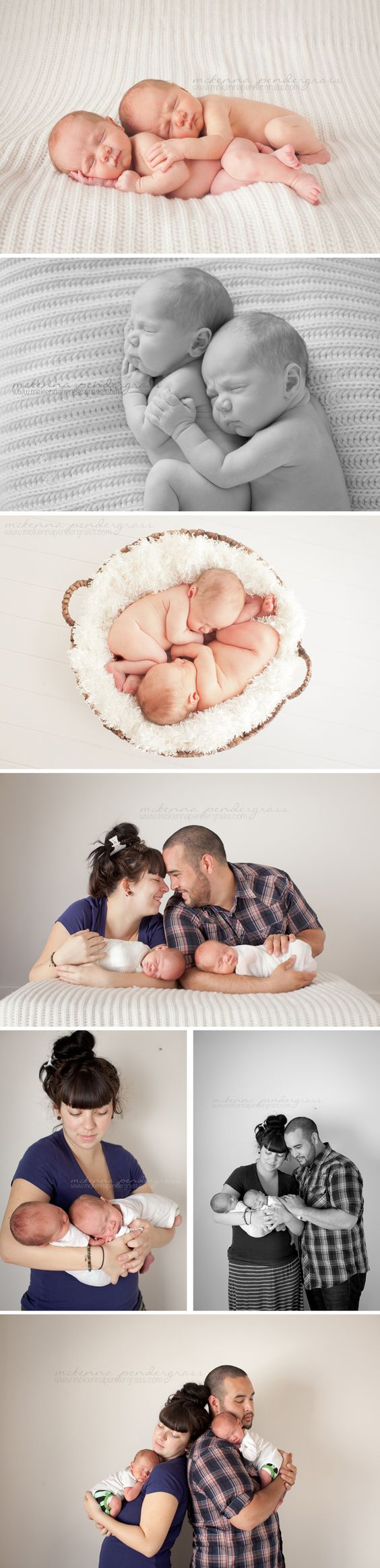 Newborn Twins. Posing for newborn twins together and with parents.