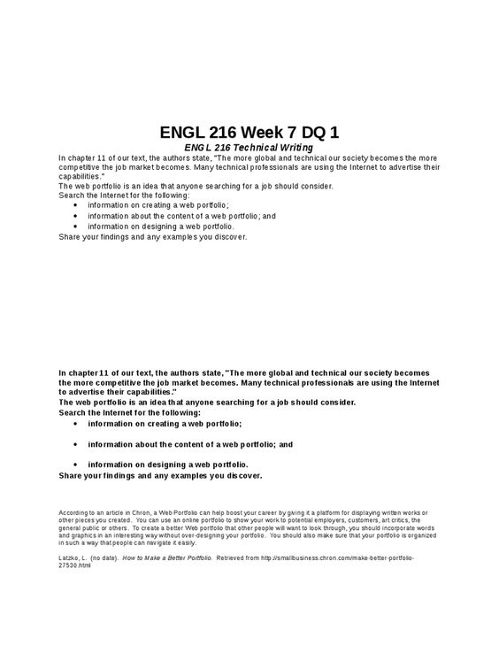 Engl  Week  Dq   Engl  Technical Writing