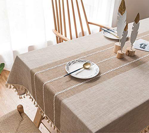 Beige Nappe Rectangulaire 90x140cm Coton Et Lin Nappe De Jardin Pompon Decoration De Table Nappe Anti Tache Impermeable N En 2020 Nappe De Table Nappe Table Faite Main