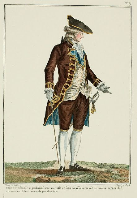 Galerie des Modes, 19e Cahier, 2e Figure  Polonaise suit, a little dressed-up with a satin piqué vest with colored bavaroises, bordered with gold; keystone hat folded up in the back. (1779)
