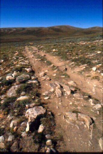 Mormon trail wagon ruts still visible today in Wyoming