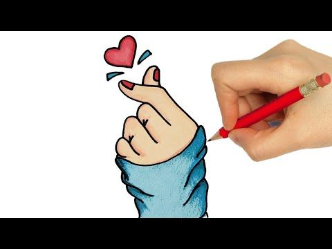 How To Draw Korean Finger Heart Easy Cute Hand Drawing Things To Draw Draw So Cute Youtube Drawings How To Draw Hands Cute Drawings