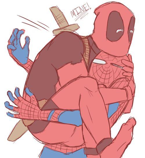 Wade Wilson and Peter Parker. #SpideyPool