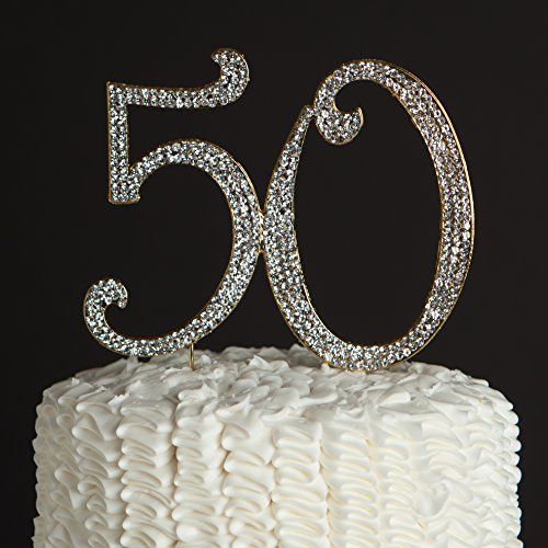 50 Gold Cake Topper for Birthday or Anniversary - Party Supplies and Decoration Ideas - 50th: