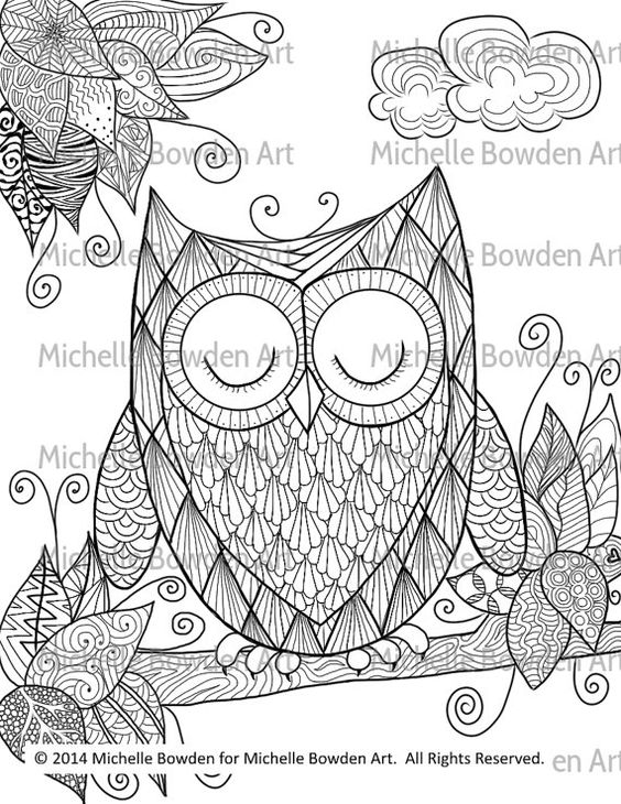 Sleepy Owl printable zendoodle coloring page by MichelleBowdenArt