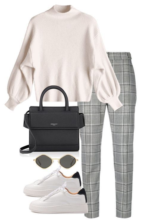Calças quadrados cinzentas + camisola gola branca + tenis ou botins