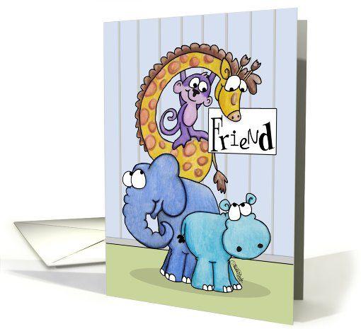 Happy Birthday to Friend-Zoo Animals card