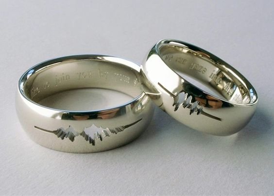 """The carving in each ring is made using the sound waves recorded by your spouse whispering """"I love you""""! how stunning are these rings!!! xxx"""