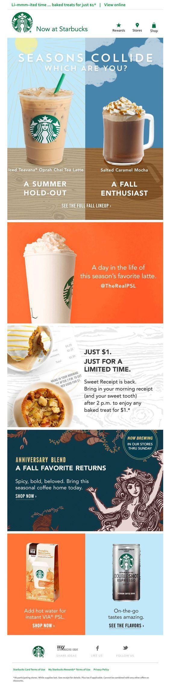 Email Template Size Fluid Design Starbucks Example Email Design Email Newsletter Design Email Marketing Template Design