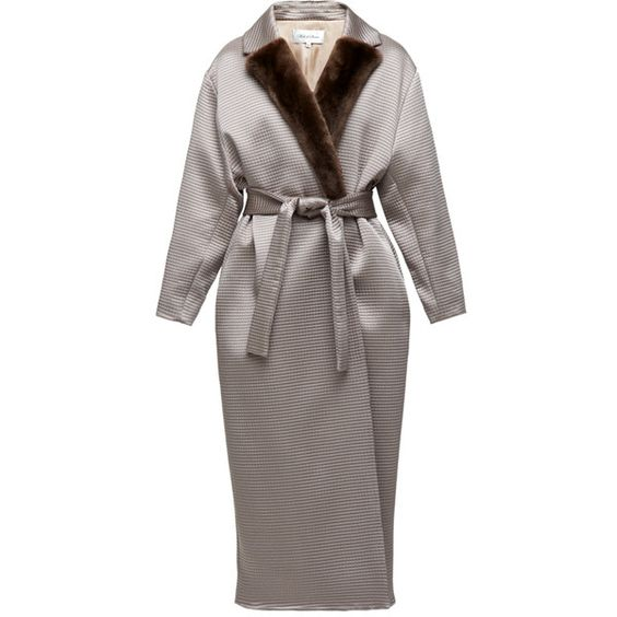 Silk coat with brown otter collar (€650) ❤ liked on Polyvore featuring outerwear, coats, brown coat and silk coat