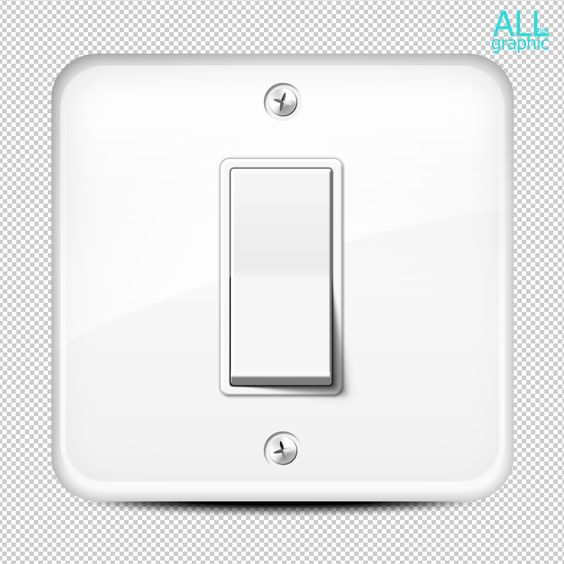 White wall button light switch in a room on square base