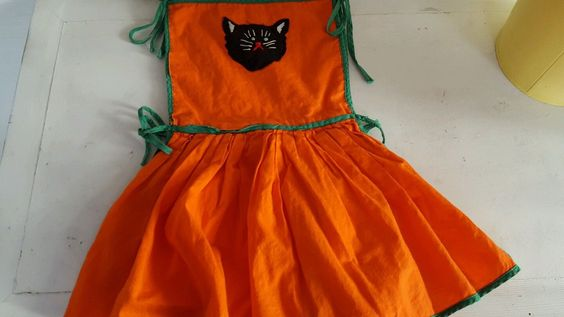 Vintage Childs Linen Halloween Kitchen Apron Orange Green Piping Black Cat   eBay