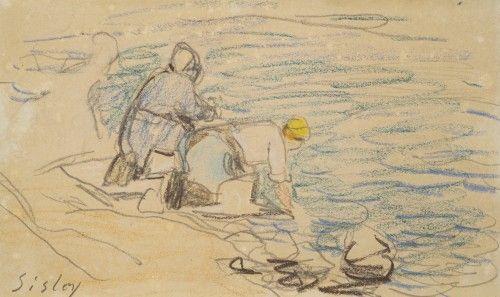 Alfred Sisley 1839 1899 Les Lavandieres En 2020 Peinture