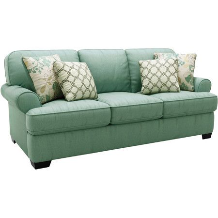 Showcasing seafoam-hued upholstery and welt detailing, this stylish sofa is a lovely canvas for patterned throw pillows or a floral throw.  ...