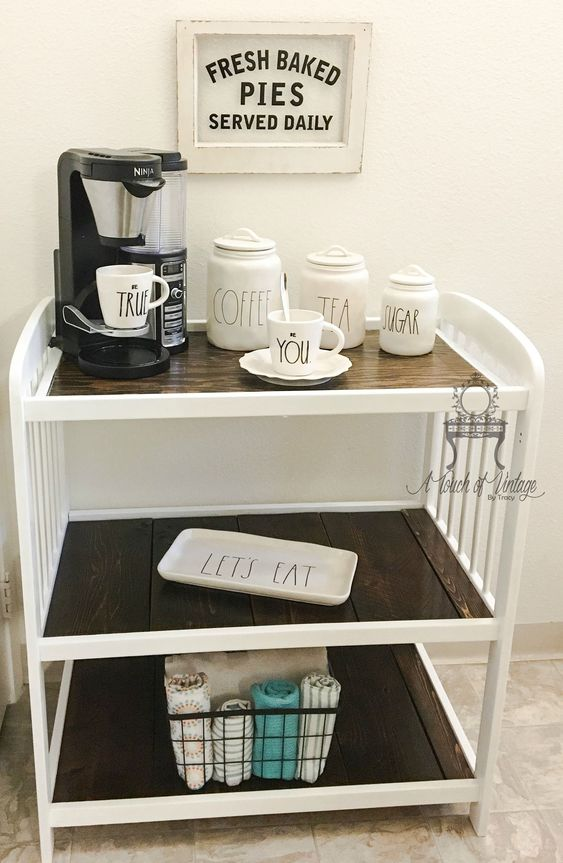 Baby Changing Table Repurposed to a Coffee Bar, perfect way to display Rae Dunn Collectible Ceramics!: