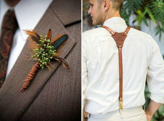 décoration de mariage originale et accessoires marié en cuir- boutonnière et bretelles