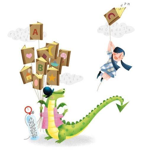 Resultado de imagen de libros volando ilustracion