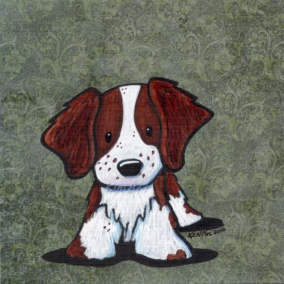 ORIGINAL Art Brittany Spaniel Dog Mixed Media Illustration, Kim Niles