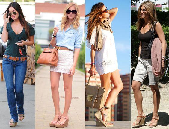 Modelos famosas usando looks casuais com bolsas de mão e ombro.