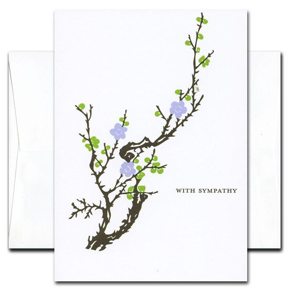 Business - Sympathy Cards Blooming Branch - Box of 10 cards & envelopes