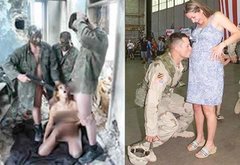 American soldiers raping an Iraqi women and go back home to their women.: