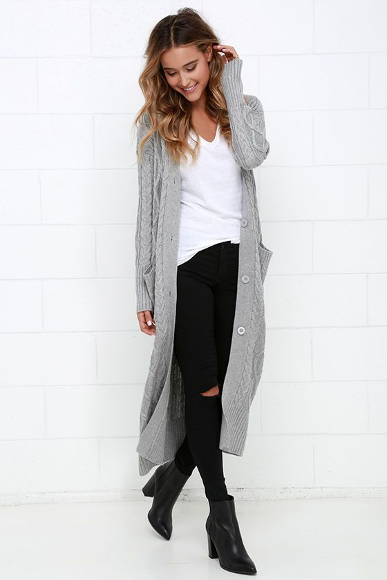 long cardigan street outfits fall 2017
